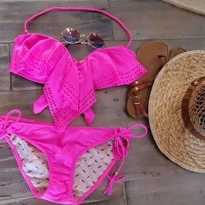 Raisins Hot Pink Bikini 2-pc Sz L NWOT